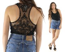 $48, Vintage 90s Lace Bodysuit Sheer Open Racer Back Black Top Sleeveless Bouse Leotard 1990s SAM Tank Shirt by ScarletFury on Etsy Women's date outfit idea street style fashion