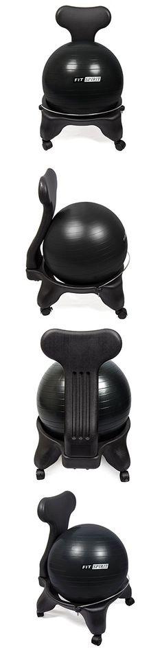 fit spirit exercise balance ball chair black