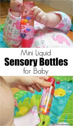 Encourage your childs natural curiosity with these easy to make mini liquid sensory bottles! Watch otherwise too small items float around in the safety of these bottles! 6 month old in this activity.