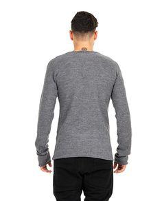LOST&FOUND MAN Lost&Found Rooms light grey sweater round neckline long sleeves 50% WM 50% AC