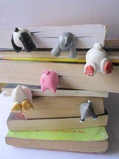 Fimo Kawaii, Polymer Clay Kawaii, Polymer Clay Crafts, Polymer Clay Creations, Diy Clay, Clay Crafts For Kids, Diy For Kids, Diy And Crafts, Creative Bookmarks