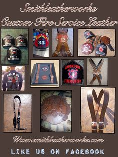 Custom leather fire suspenders, helmet shields, radio straps