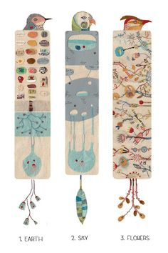 Set of 3 Illustrated bookmarks nature inspiration by 2Hands2Tails