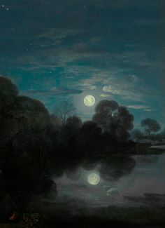 barcarole: Detail from The Flight into Egypt, Adam Elsheimer, View Original Source Here Rome, Moonlight Painting, Best Of Tumblr, Sun And Stars, Nocturne, Dark Art, Love Art, Munich, Light In The Dark