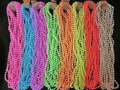 5 Dozen 60 Glow in The Dark Mardi Gras Party Necklaces Neon Beads ...