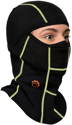 GearTOP Tactical Balaclava and Motocycle Face Mask, Black and Green Full Face Mask, Face Masks, Helmet Liner, Sweat Out, Tactical Survival, Very Cold, Balaclava, Body Heat, Neck Scarves