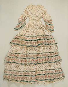 Dress 1850, American or European, Made of cotton