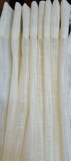 "1 Pair Flat Rod Pocket or Grommet Curtain Panels in Faux Linen Sheer Ivory 110""Wide"
