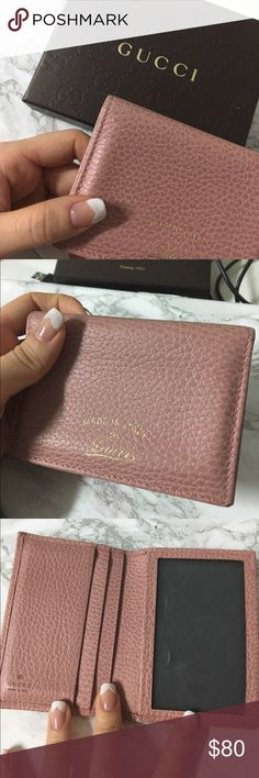 2deec4579eae5 Authentic Gucci Card Case Wallet in Baby Pink 6 Card slots! It can also  carry bills if you fold it. Used but very mint condition. Some color  wearing off ...