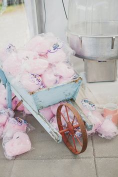 Pink Cotton Candy in vintage Blue Wagon for Shabby Chic Wedding idea  photo credit: Ameris