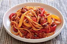 Find the recipe for Bucatini with Sausage and Peppers and other pasta recipes at Epicurious.com