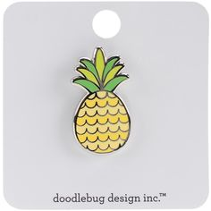 Doodlebug Collection Fun In The Sun Enamel Pin Pineapple Crush- Limited edition, jewelry quality enamel pin of a cute cartoon pineapple in Golden Yellow and Lime. Pin height about Cartoon Pineapple, Pineapple Tattoo, Pineapple Slices, Crown Outline, Croc Charms, Pineapple Painting, Pineapple Jewelry, Beer Pong Tables