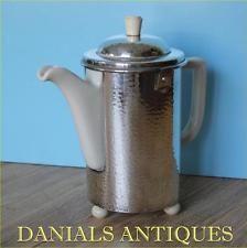 ANTIQUE SUPERB ART DECO BAUHAUS SILVER PLATED HAMMERED WMF COFFEE TEA POT.1935'S Bauhaus, Wmf, Watering Can, Deco, Kettle, Tea Pots, Coffee, Antiques, Tableware
