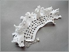 Freeform Crochet Cuff With Pearls (Item for Purchase) from Zigettastyle/Etsy.com