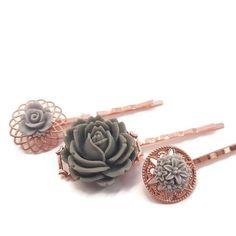 Grey Hair Pins Flower Bobby Pins-Set of 3-Bridesmaid