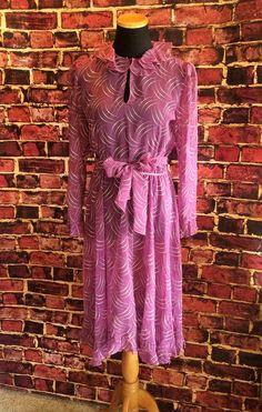 Romantic Ruffled Purple and White Polkadot 1970's Dress, Sz. 8 by CobbWebbTreasures on Etsy
