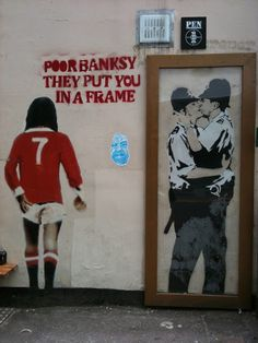 Banksy's 'Kissing Copers' on a pub wall in Brighton, was sold at US auction in Feb 2014 for £345,000: BBC News - http://bbc.in/1gEt8Wa The wall has since been painted with a mural of famous people.