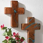 Crosses with turquois inlay.