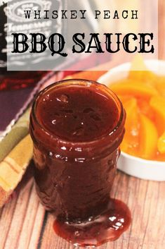 This Homemade Whiskey Peach BBQ Sauce is finger lickin' delicious! Sweet and perfectly tangy. So good on chicken, pork, and fish! Peach Bbq Sauce Recipe, Peach Sauce, Homemade Bbq Sauce Recipe, Barbecue Sauce Recipes, Barbeque Sauce, Bbq Sauces, Smoker Recipes, Dipping Sauces, Rub Recipes