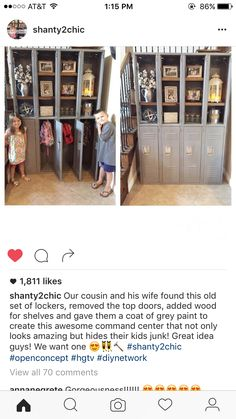 old set of lockers, removed top doors, add wood for shelves and give them a coat of grey paint to create this awesome command center that not only looks amazing but hides their kids junk! Great idea We want one Repurposed Lockers, Vintage Lockers, Metal Lockers, Repurposed Furniture, Furniture Makeover, Furniture Decor, Shanty 2 Chic, School Lockers, Diy Network