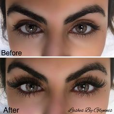 This Lash Extension Before and after is Beautiful. #lashes