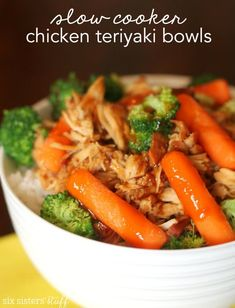 Slow Cooker Chicken Teriyaki Bowls from SixSistersStuff.com