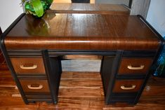 Another Horrendous Waterfall Desk. The before pic is unreal. Wood can be refurbished!