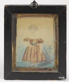 Miniature pencil and watercolor portrait