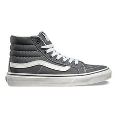 The Sk8-Hi Slim, a slimmed down version of the legendary Vans lace-up high top, features sturdy canvas and suede uppers, signature rubber waffle outsoles, and padded collars for support and flexibility.