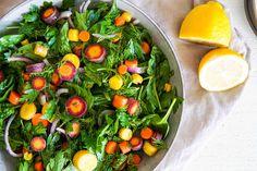 Fresh Herb & Lemon Salad Baby Spinach, Salad Ingredients, Fresh Herbs, Coriander, Carrots, Lemon, Stuffed Peppers, Fruit