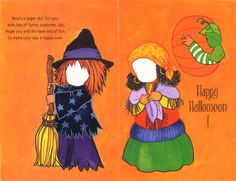 Halloween Paper Doll Cards - Girl in Cat Costume