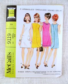 McCall's 9119 bust 30 31 Vintage mod housedress 1960s sewing pattern wraparound dress three arm hole