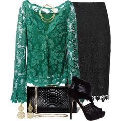 A fashion look from January 2015 featuring lace top, pencil skirt and evening shoes. Browse and shop related looks.