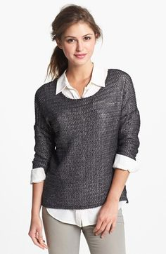 (Two by Vince Camuto) Metallic Sweater paired with collared shirt for great casual Friday top half