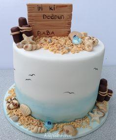 Babamın doğumgünü pastası #birthday cake #Küçük Fırın #beach #sea