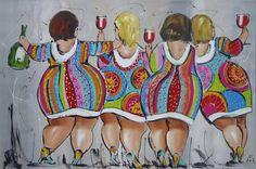Schilderij van Liz - Vrouwen met dikke billen