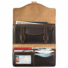 Amazon.com: Saddleback Leather Long Trifold Wallet Dark Coffee Brown: Clothing