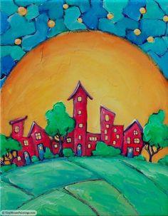 Our Town original painting por tinyhousepaintings en Etsy