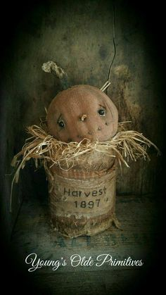**Primitive JOL Pumpkin In Can Shelf Sitter Fall Halloween** In Antiques,  Primitives