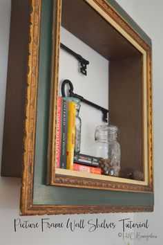 DIY repurposed picture frame wall shelves tutorial with instructions to make a shelf with a wood frame. Includes useful tips to hang frame wall shelves. projects tips woodworking Woodworking Projects That Sell, Woodworking Furniture, Diy Wood Projects, Woodworking Crafts, Woodworking Plans, Popular Woodworking, Woodworking Classes, Woodworking Apron, Woodworking Inspiration