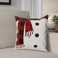 Snowman Scarf and Buttons Throw Pillow