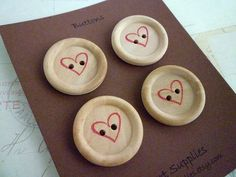 Wooden Buttons  Stamped Heart Collection  30mm by heartsupplies