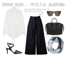 Street style with Bird and Knoll by birdandknoll on Polyvore featuring Tome, Nine West, Givenchy, Bird and Knoll san francisoc - streetlife cashmere blend scarf and Prism