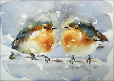 Watercolors by Maria Stezhko (Акварели Марии Стежко): Winter birdies
