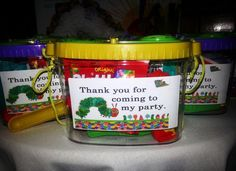 Favors at a Very Hungry Caterpillar Party #veryhungrycaterpillar #party