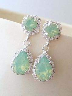 Mint opal green seafoam Chandelier earrings by EldorTinaJewelry | Crystal earrings | mint opal earrings | bridal earrings available in silver or gold finish | available in many more colors | http://etsy.me/1TV5ZCg