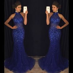 2017 Custom Made Royal Blue Chiffon Prom Dress,Sexy Halter Evening Dress,Beading Party Dress,Sleeveless Prom Dress