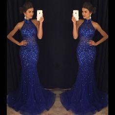 2017 Custom Made Royal Blue Chiffon Prom Dress,Sexy Halter Evening Dress,Beading Party Dress,Sleeveless Prom Dress