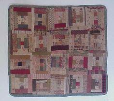 "log cabin variation century doll quilt, 16 x 17 ¾"" Old Quilts, Antique Quilts, Small Quilts, Mini Quilts, Vintage Quilts, Baby Quilts, Antique Crib, Log Cabin Quilts, Log Cabins"