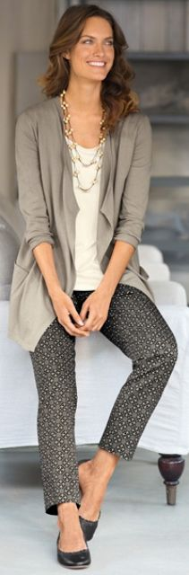Outfit Posts: outfit post: pattern skinny pants, nude blouse, grey cardigan, black wedges